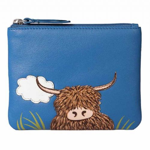 Mala Leather Bella Highland Cow Coin Purse with RFID protection